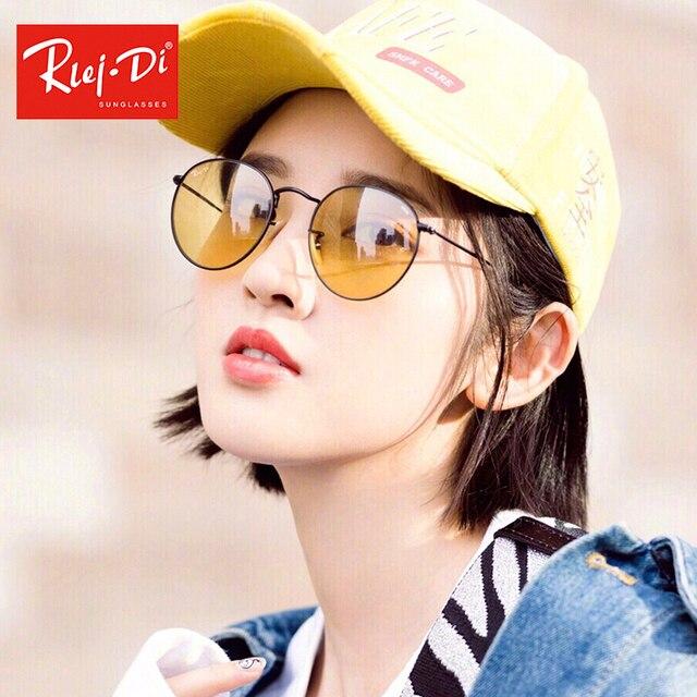 9ad082f273af77 Rlei Di 2018 Jaune Lentille En Verre lunettes de Soleil New Metal Lunettes  De Soleil Chaud
