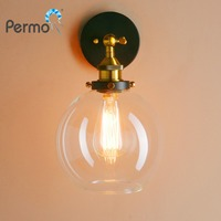PERMO 7.9 Vintage Industrial Sconce Wall Lights Globe Glass Shape Loft Wall Lamp E27 Base Lights Fixtures Home Bar Decoration
