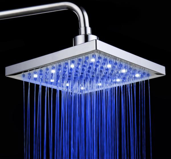 Delicieux Square LED Shower Head Water Temperature Sensing 3 Color Changing LED Light  Ceiling Shower Spray