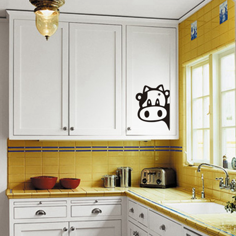 Funny Cow Kitchen Fridge Sticker , Vinyl Cow Decals For Home Kitchen  Refrigerator Wall Tiles Cabinets Decorations In Wall Stickers From Home U0026  Garden On ...