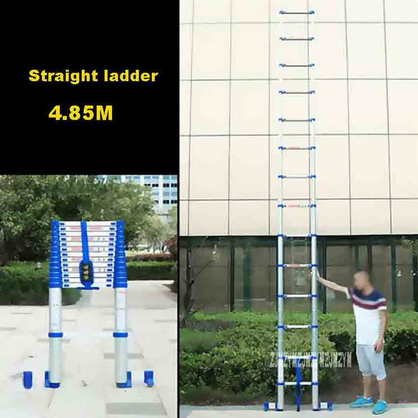 4.85M Straight Ladder JJS511 Portable Household Extension Ladder Thicken Aluminium Alloy Single-sided 14-Step Engineering Ladder