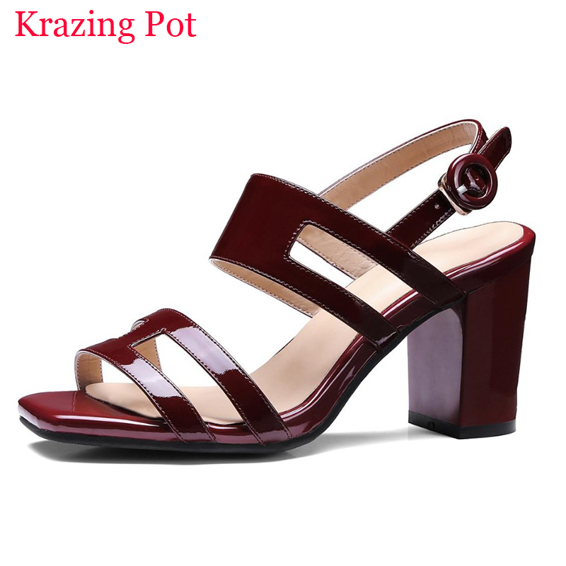 2017 Shoes Woman Genuine Leather Peep Toe Thick Heel Women Sandals Superstar High Heels Nude Sweet Classic Party Summer Shoe L15