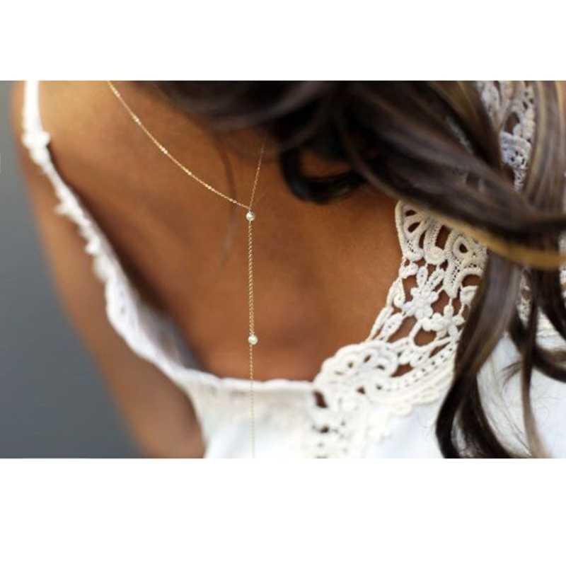 งานแต่งงานเจ้าสาวฉากหลังสร้อยคอไข่มุกกลับสำหรับบิกินี่ผู้หญิง Bodychain Backless ชุดอุปกรณ์เสริม