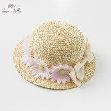 DB10478 dave bella bebê verão meninas arco amarelo hat crianças moda chapéu de flores de palha