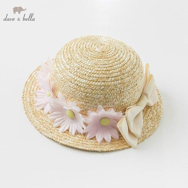 DB10478 dave bella ฤดูร้อนเด็กทารกสีเหลืองโบว์หมวกเด็กแฟชั่นดอกไม้ฟางหมวก