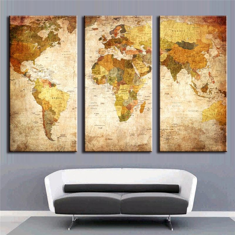3 pieces modern oil painting on canvas with world map homd 3 pieces modern oil painting on canvas with world map homd decoration canvas painting cuadros decoracion no frame cuadros in painting calligraphy from gumiabroncs Images