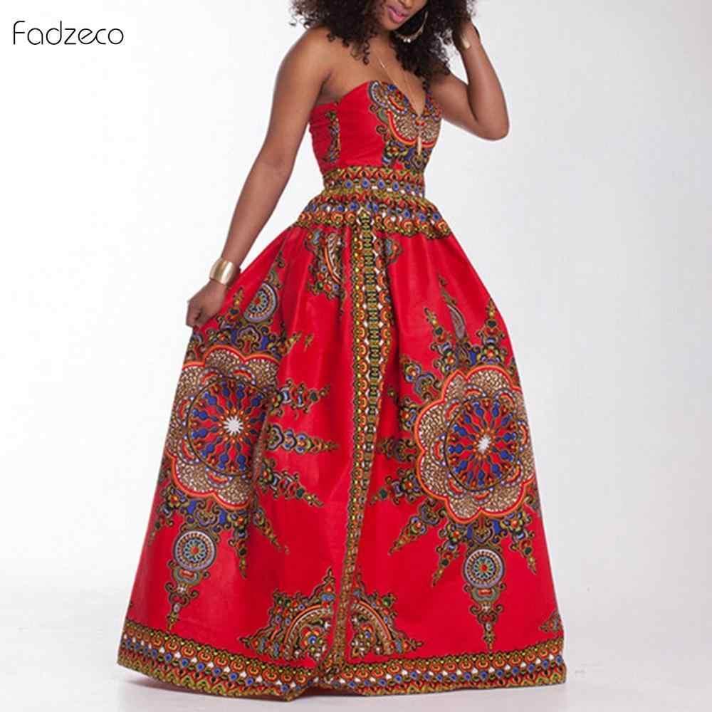 Vestidos africanos Fadzeco para mujeres ropa patrón Ankara Dashiki Bazin mono estampado africano Riche mujeres Maxi vestido tradicional