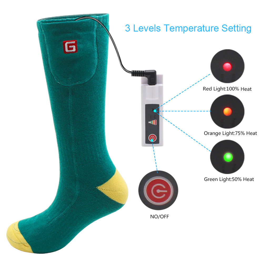 Носки с электрическим подогревом теплые носки с перезаряжаемой батареей 3,7 вольт эластичные теплые носки для здоровья для помещений и активного отдыха