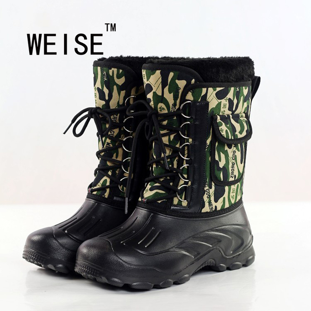 2016  New Men Outdoor Waterproof Camouflage Snow Boots Fishing Shoes Men  Boots Large Size 41-46