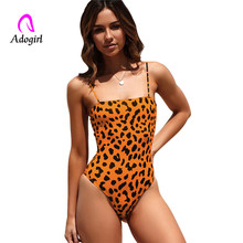 Women summer spaghetti strap bodysuits lady skinny slim one piece leopard swimming backless polka beachwear rompers