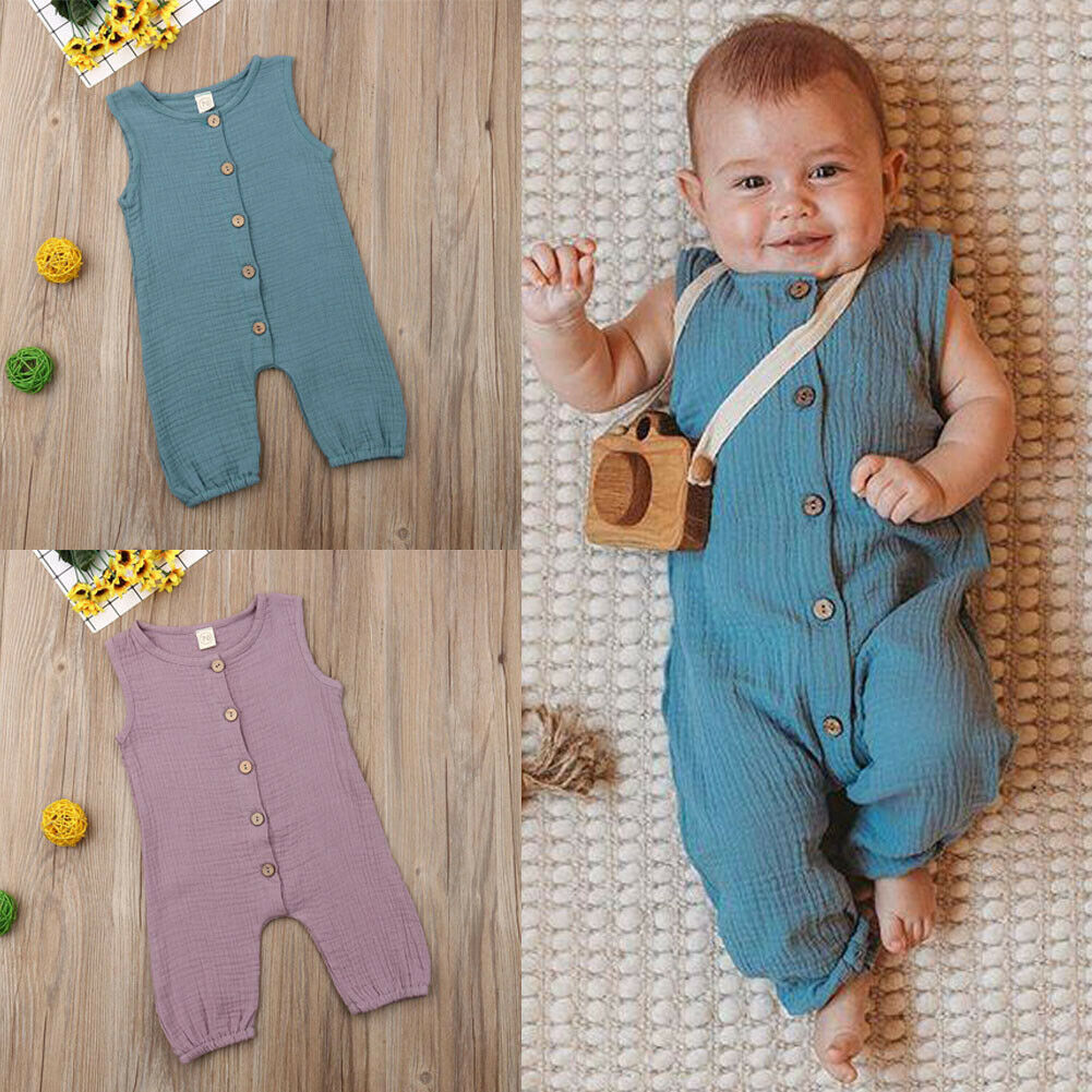 Pudcoco Summer Newborn Baby Boy   Romper   Solid Color Sleeveless Button Cotton   Romper   Playsuit Outfit Sunsuit Clothes