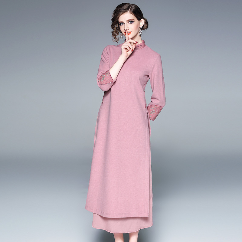 Elegant and elegant spring autumn embroidered womens clothes fashion embroidery temperament cheongsam slim wool dress women