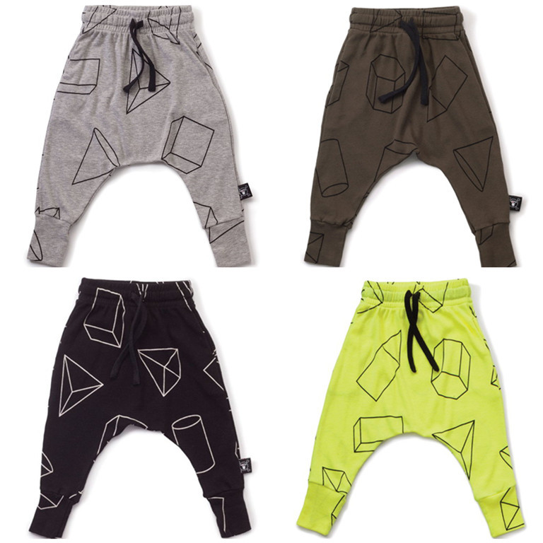 Boys Pants Children Harem Pants Geometric Print Baby Girls Trousers Kids Toddler Cotton Clothing Trousers for