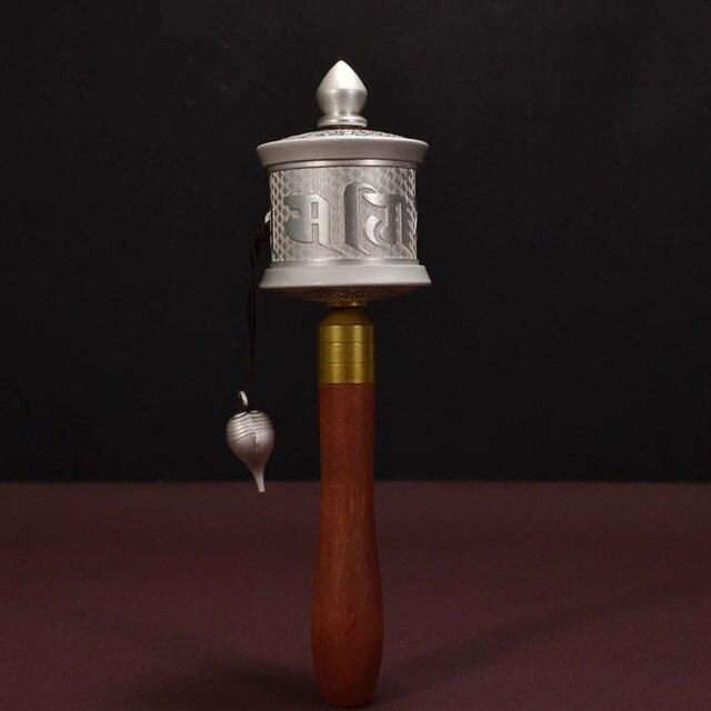 38f74dbd3b5 Bouddhiste Fournitures Mini Alliage Arbor Main-démarrage Roue De Prière  avec Conque Pendentif Ultra Lisse
