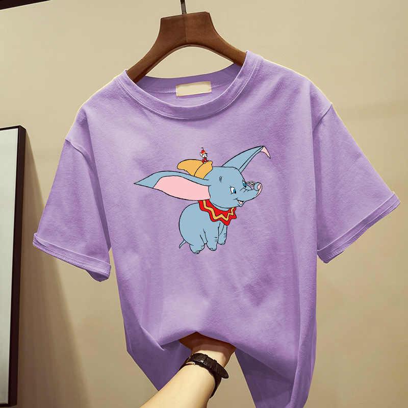 Zuolunouba Zomer Tees Vrouwelijke Casual Tops Hoge Kwaliteit Katoen Korte Mouwen Cartoon Leuke Dumbo Harajuku O-hals T-shirts Vrouwen
