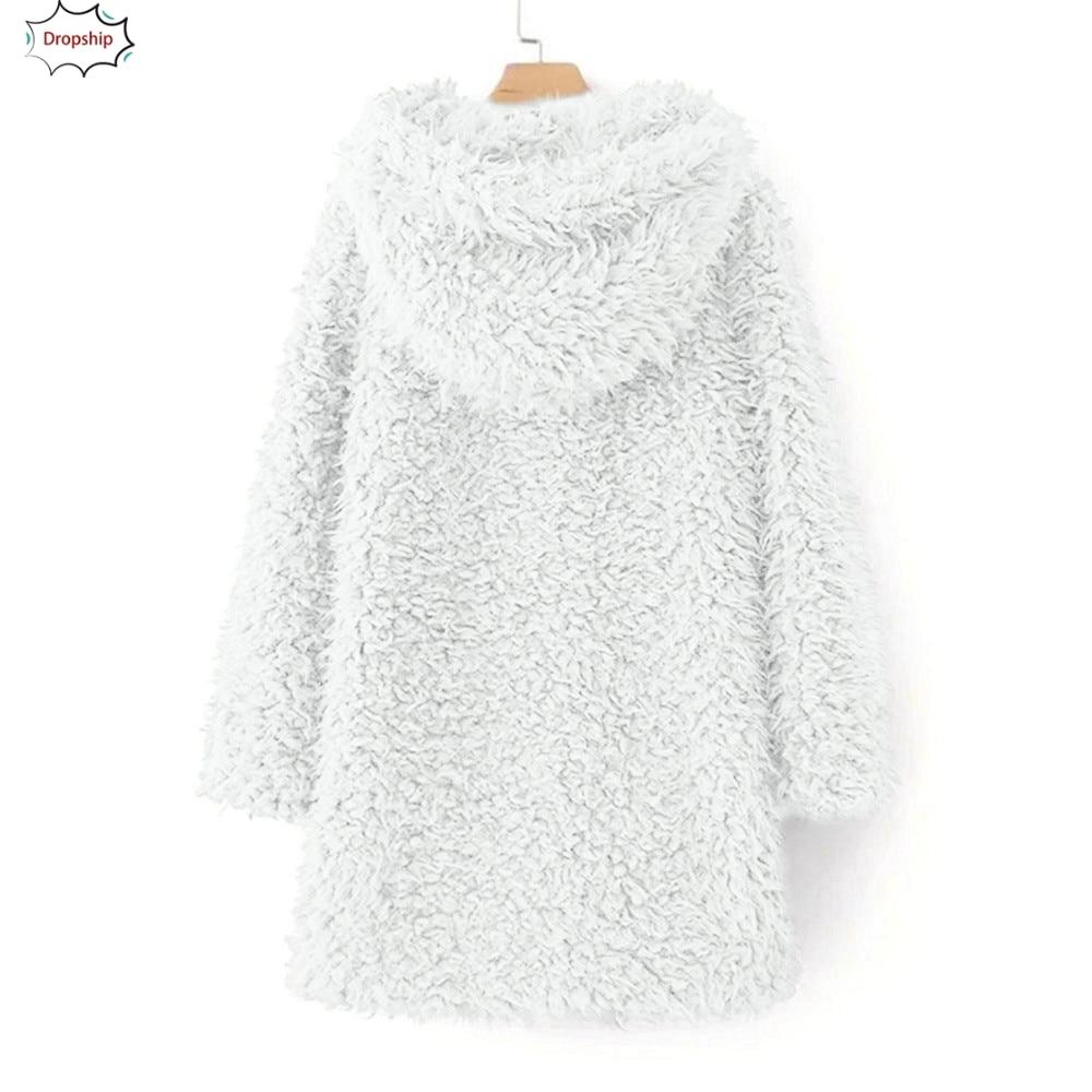 2019 Hot Womens Ladies Warm Faux Fur  Artificial Wool Coat Jacket Lapel Winter Outerwear Women's clothing DropShiping 18Oct30