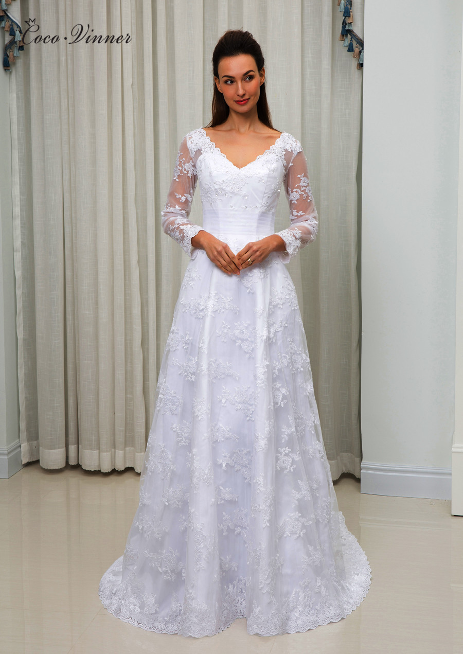 C.V Long Sleeve Elegant Wedding Dress A Line Vestido De Noiva Plus Size Appliques Mariage Wedding Dress 2019 Robe De Marie W0046