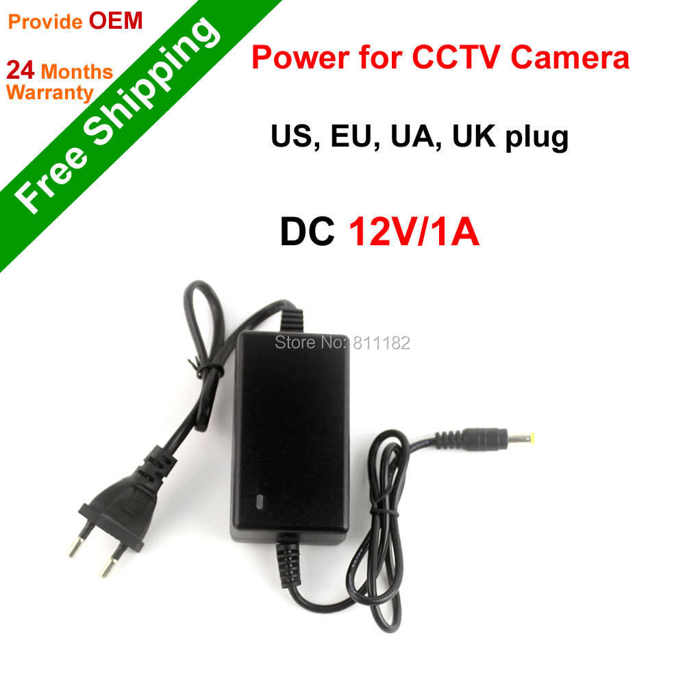 DONPHIA DC 12V 1A Power supply for CCTV Camera IP Camera US, EU plug 5.5x2.1mm AC110-240V input power adapter CCTV Accessory 12v 5a 8ch power supply adapter work for cctv suveillance camera system dc 12v power supply 8 port dc pigtail coat