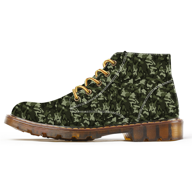 2019 New Style Camouflage Print Ankle Boots for Men Outdoor Motorcycle Combat Fashion Martin Boots Chukka Custom Shoes Plus Size