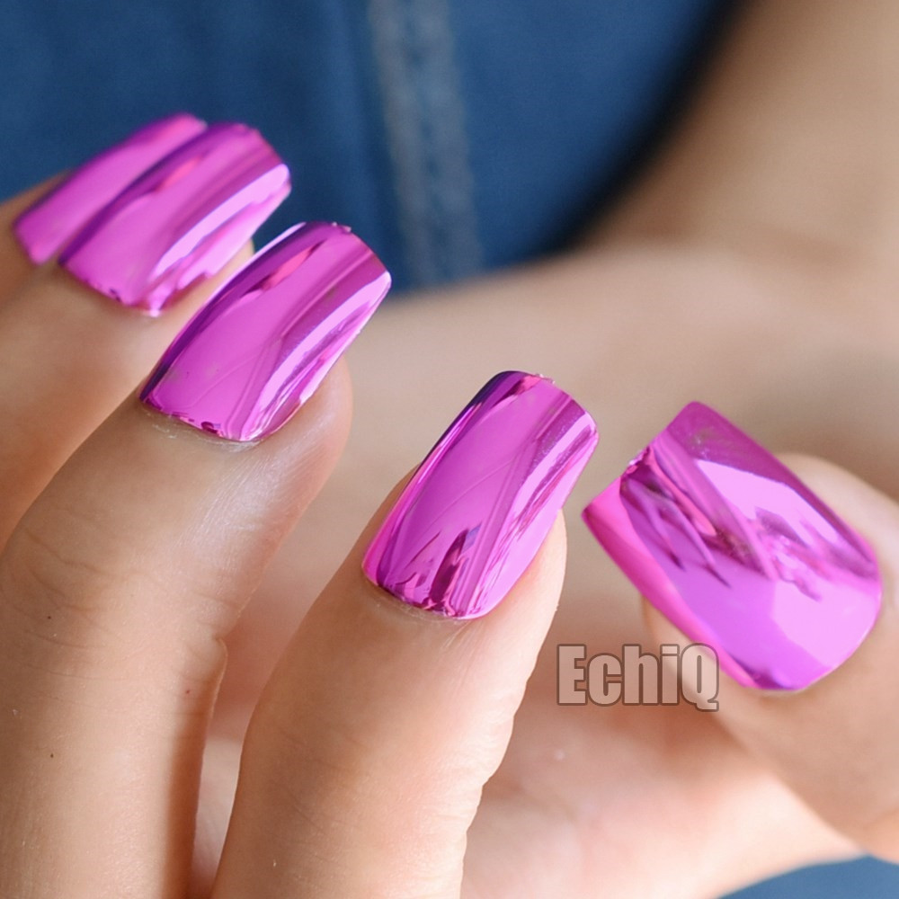 Metallic False Nails Purple Red Fashion Acrylic Nails Full Wrap Nail ...