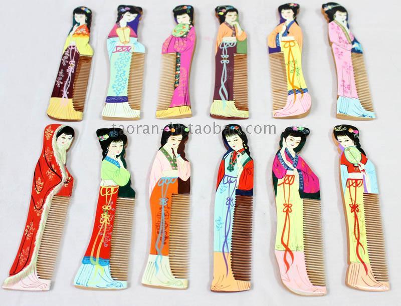 Us 430 Etnische Handgeschilderde Houten Kammen Bruiloft Kerst Verjaardagsfeestje Gunst Chinese Antieke Schoonheid Engels Beschrijving 12