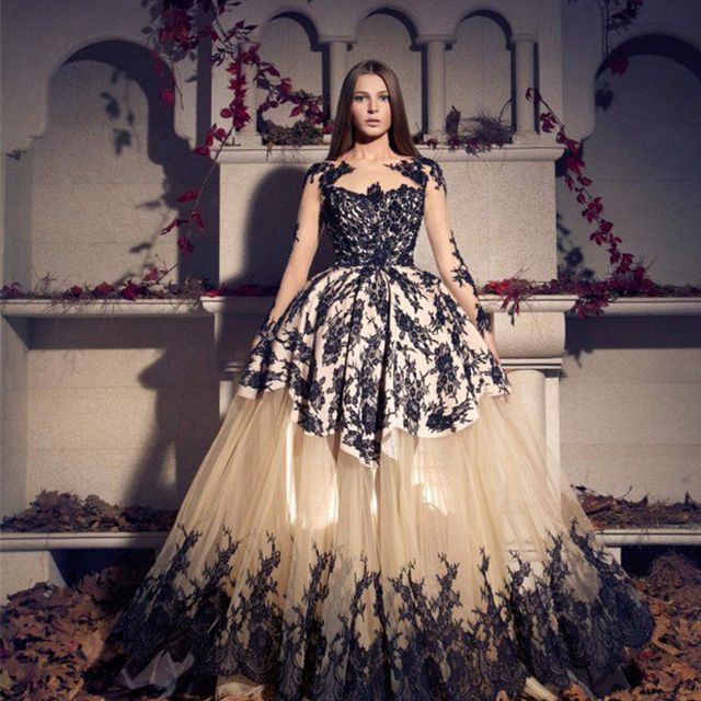 Black Long Sleeve Appliques Sheer Illusion Neckline Evening Dresses