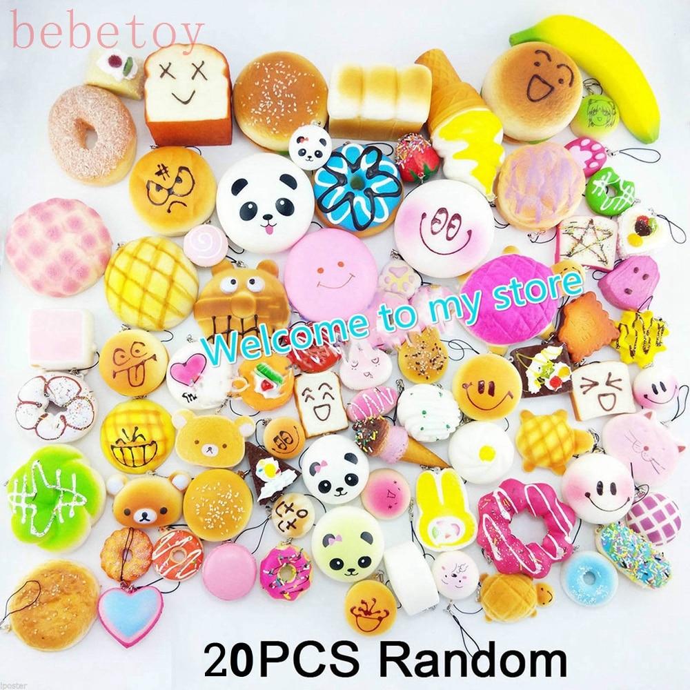New 20 PCS Jumbo Random Kawaii Bun Toast Panda Donut Bread Squishy Cat Phone Straps Kitchen simulation toy ariete toast