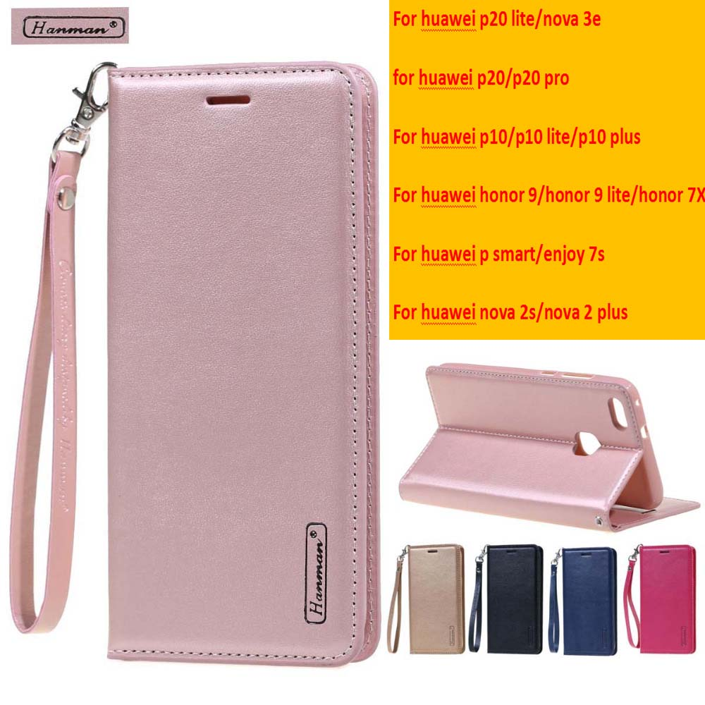 free gift Tempered film HanMan Flip cover case for huawei p10 p20 lite case Leather Wallet case for huawei P smart honor 9 lite