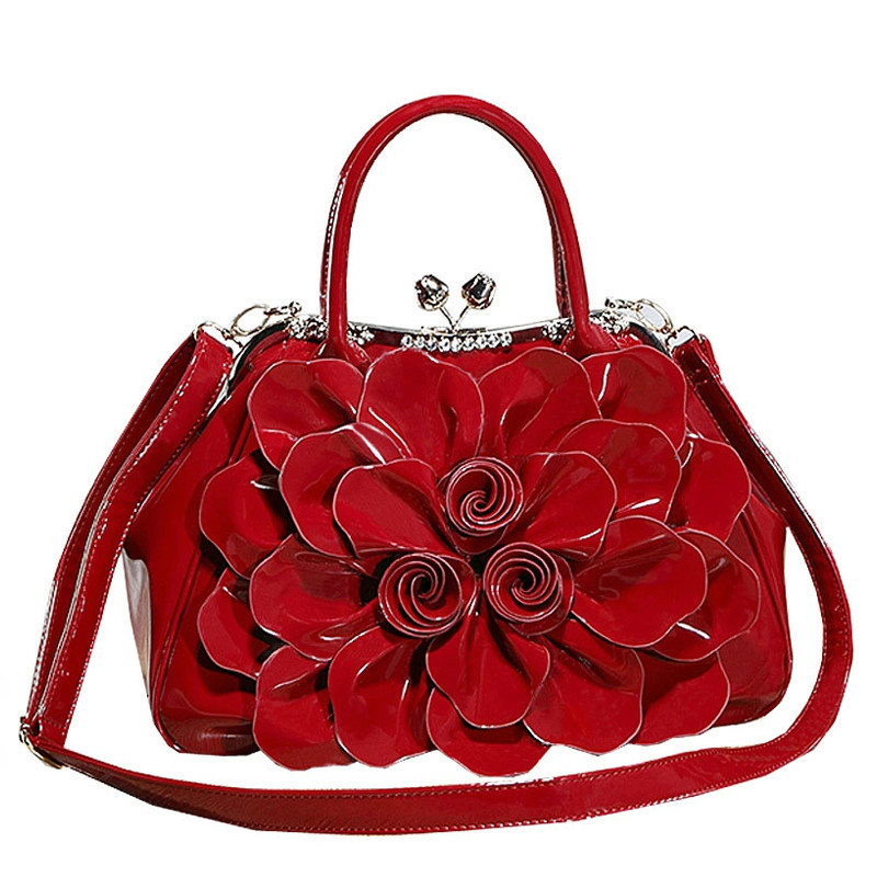 Women Famous Brands Handbags Fashionable Rhinestones Patent Leather Women Messenger Bags Flowers Bridal Red Handbag meifeier 407 women s fashionable knitted chiffon blouse apricot l