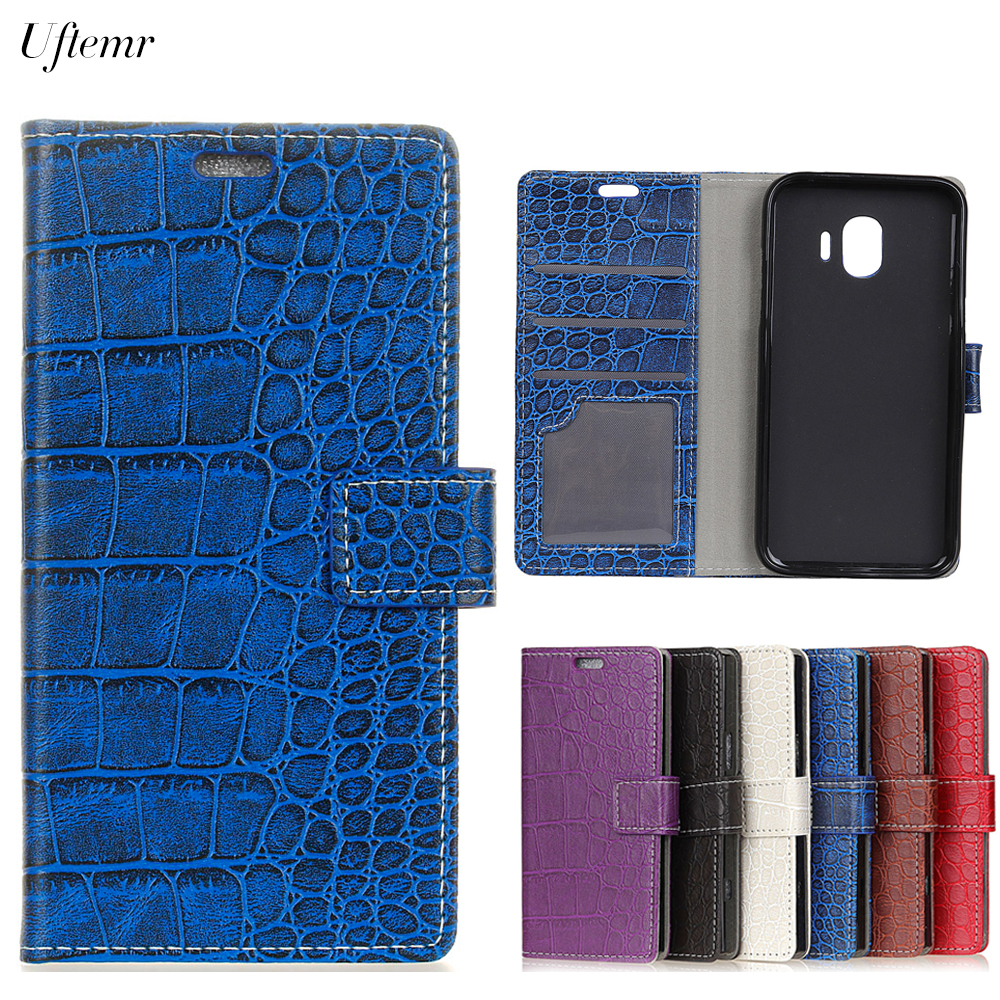 Uftemr Vintage Crocodile PU Leather Cover For Samsung Galaxy J2 Pro 2018 Silicone Case Wallet Card Slot Phone Acessories