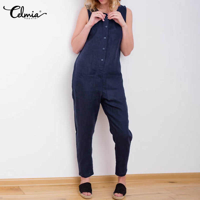 68c563aef9f ... 5XL Celmia Women Overalls 2018 Sleeveless Casual Button Solid Cotton  Linen Jumpsuits Long Trouser with Pockets ...
