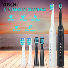 Sonic Electric Toothbrush Rechargeable 5 Vibrate Functions Dupont Bristle Brushing Timer Waterproof Teeth Care Replacement Heads(China)