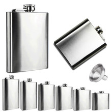 6 Sizes flask Stainless Steel Pocket Hip Flask Alcohol Whiskey Liquor Screw Cap + Funnel Aug8#2
