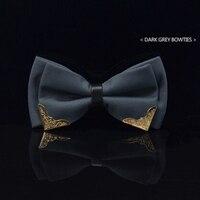Elegante Boutique de Design Armação de Metal Laços Cavalheiro Moda Navy Blue Print Borboleta Homens Bowties Para O Partido Wdding Caixas Livres