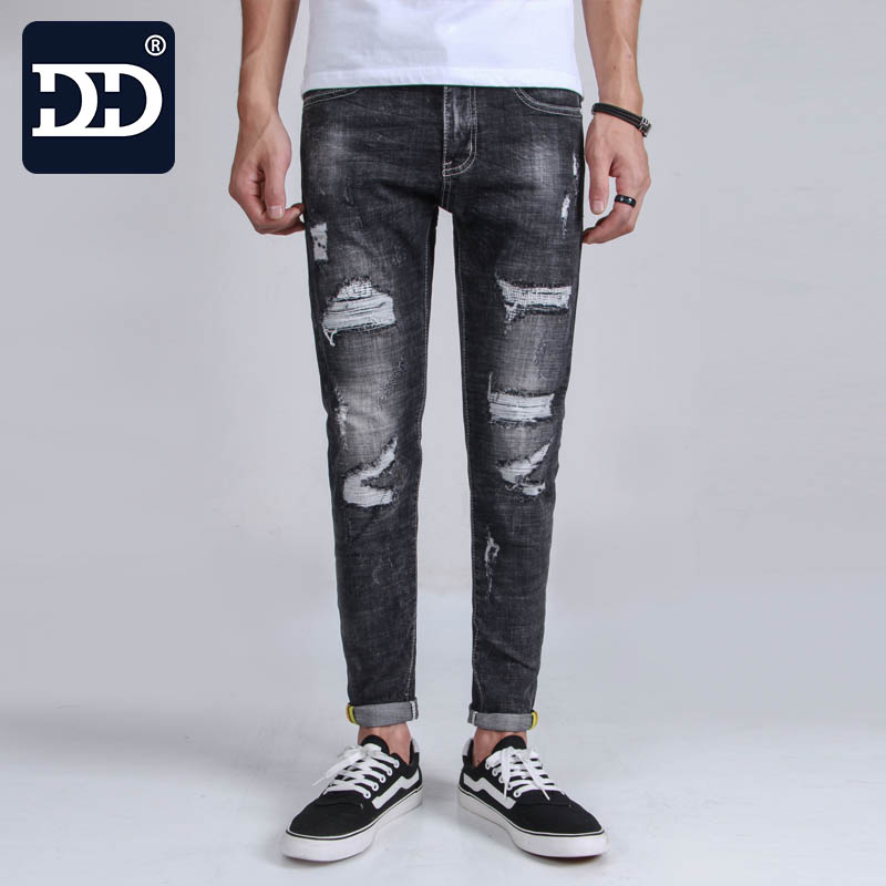 Dingdi Famous Brand Logo Long Jeans Men Solid Black Jeans Trousers Slim Straight Denim Thin Stretch Mens Skinny jeans NC-10035# thin stretch jeans ripped denim trousers slim skinny black jeans men new famous brand biker jeans elastic mens jeans l702