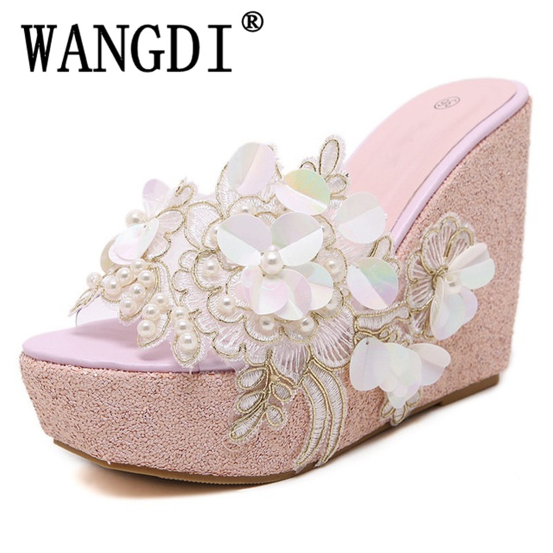Summer sandals Beaded flowers platform wedges women slippers fashion flip flops hot bohemian national style women sandals