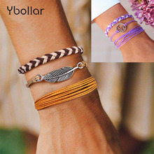 3pcs Bracelet Set Bohemian Weave Rope Bracelets For Women Girls Handmade Wax String Wrap Friendship Charm Bangles