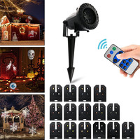 Oobest Holiday Decoration Waterproof Outdoor LED Stage Lights With 15 Replaceable Patterns Christmas Laser Projector Lamp