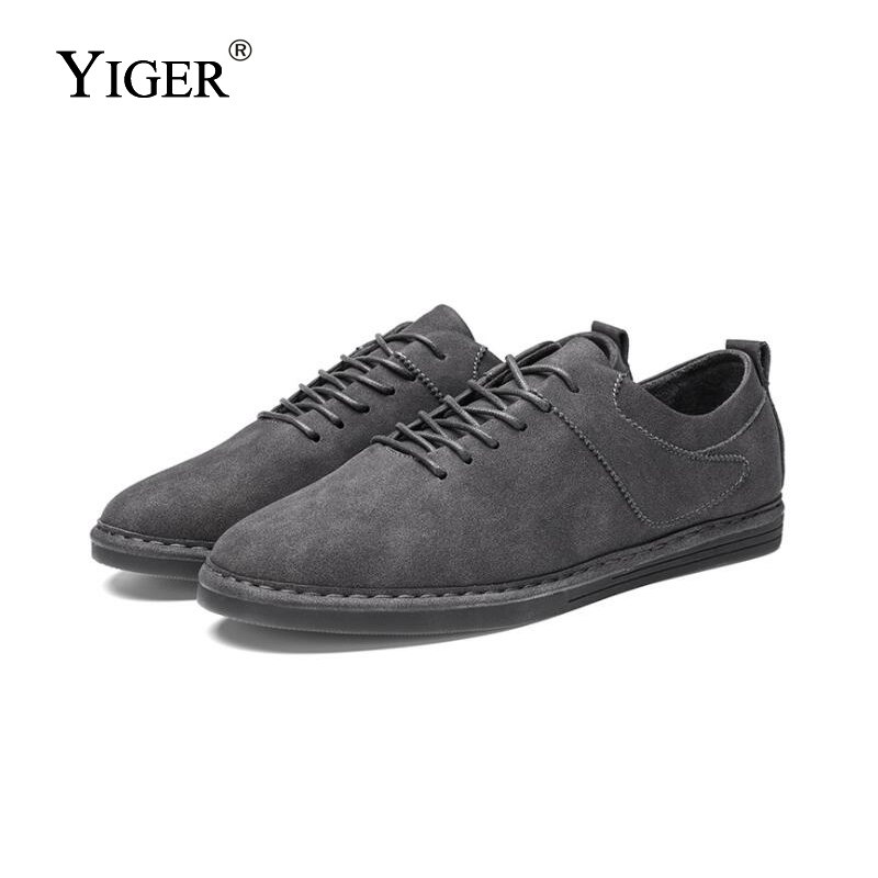 YIGER NEW Man Casual shoes 2018 Retro fashion Men Peas shoes Comfortable and lightweight Leather Men Leisure Shoes    0138