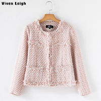 Viven Leigh Luxury Brand Bomber Jacket Pearl Long Sleeves Pocket Formal Coat High Quality Elegant Women