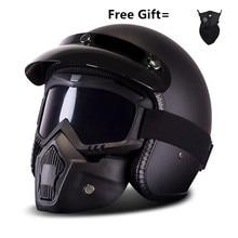 Мотоциклетный мотоциклист ретро открытый шлем мото Harley Ретро Винтажные точки шлемов s m l xl матовый черный