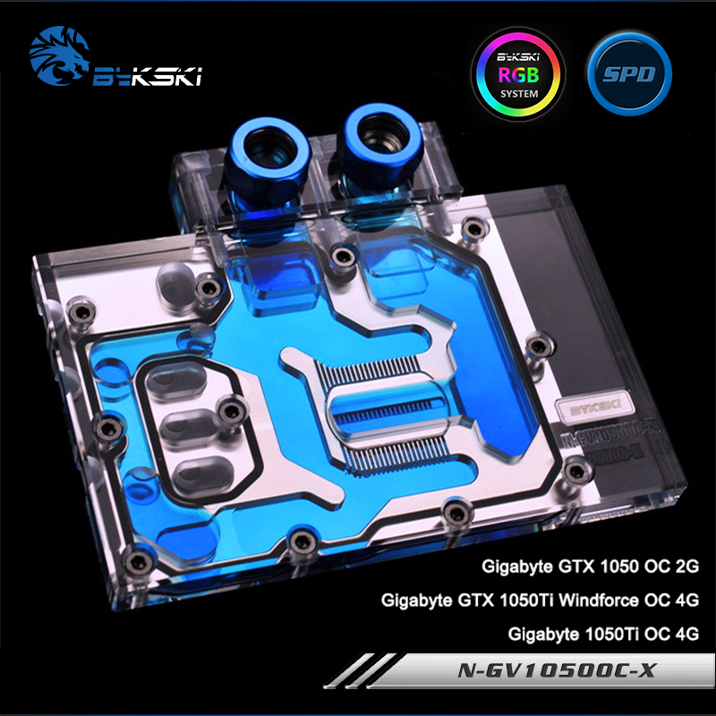 Bykski N-GV1050OC-X Full Cover Graphics Card Water Cooling Block RGB/RBW/AURA for Gigabyte GTX1050 OC/1050Ti Windforce/1050Ti OC new original graphics card cooling fan for gigabyte gtx770 4gb gv n770oc 4gb 6 heat pipe copper base