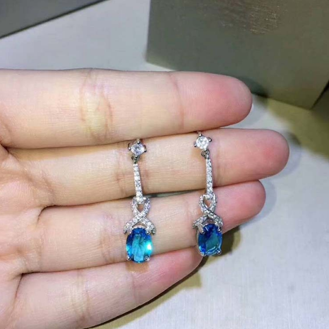 Top Quality Blue CZ Stone Earring Ear Drop Genuine 925 Sterling Silver Woman Colored Earrings Jewelry Wholesale
