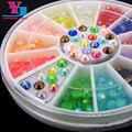 2016 nueva moda 3D Rhinestone colorido rueda mixta colores de uñas de acrílico arte de piedra del brillo herramientas del clavo de DIY decoración de uñas de los encantos