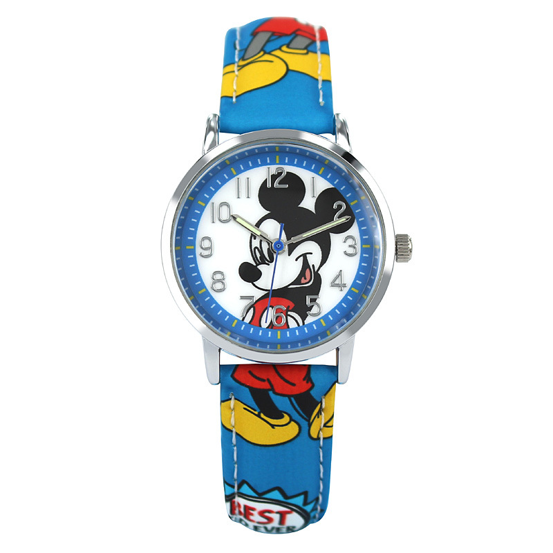 a8f0ad3618d Mickey Mouse Relógio de Pulso de Quartzo de Couro Juventude Adolescente  Estudante Homens Clássico Da Moda relógio de Pulso Da Marca Disney Bom  Presente Mk ...