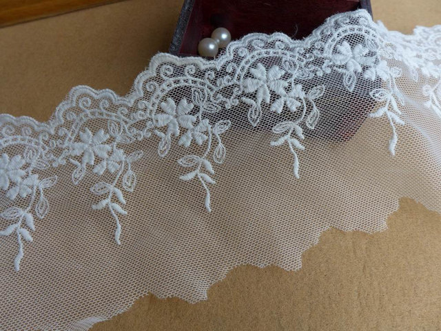 5 Yards White Embroidery Wedding Floral Lace Trim With Scalloped For
