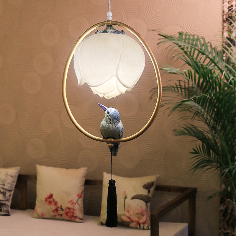 New chinese stype pendant lamp dining room kitchen restaurant hotel bar cafe light resin Lotus bird decorations oval chandelier in Pendant Lights from Lights Lighting