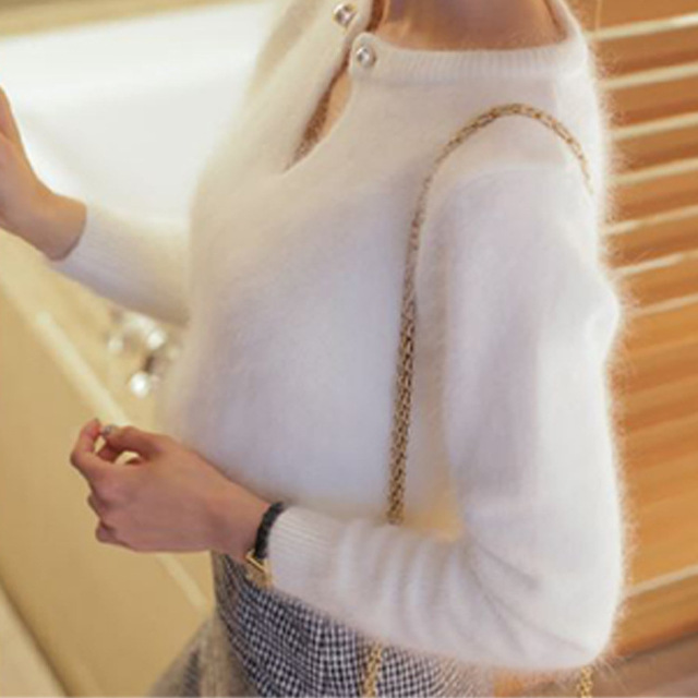 2016 Autumn Winter Women New Arrival Imitated Mink Cashmere Beading Sweater All-match Hollow-out Fashion Sweet Knitted Pullover