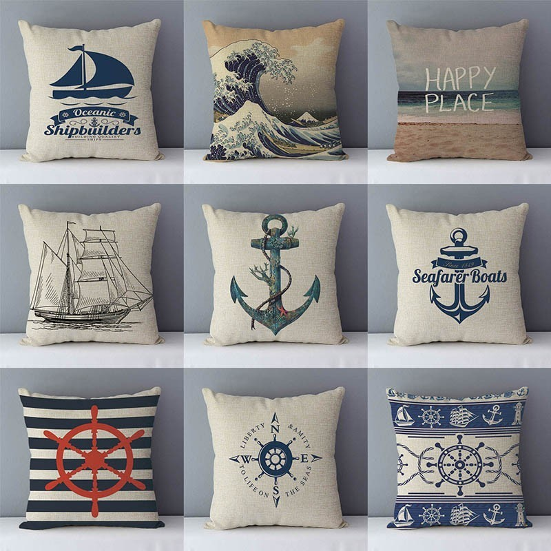 Mediterranean Couch Cushion Navy Blue Patterns Printed Home Decorative Pillow 45x45cm Cotton Linen Pillowcase Seat Back Cushions