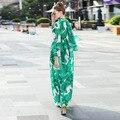 Новый 2016 осенняя мода с длинным рукавом шифон макси платья банановых листьев узоры печати повседневная женщины чешские платья